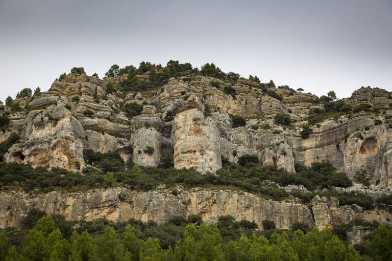 Natürliche Skulpturen verursachten durch Abnutzung im Tal von Forcall lizenzfreie stockfotografie