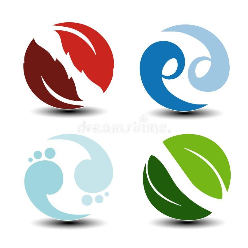Natürliche Symbole - Feuer, Luft, Wasser, Erde - Naturkreisikonen mit Flamme, Blasenluft, Wellenwasser und Blatt Elemente von Öko vektor abbildung