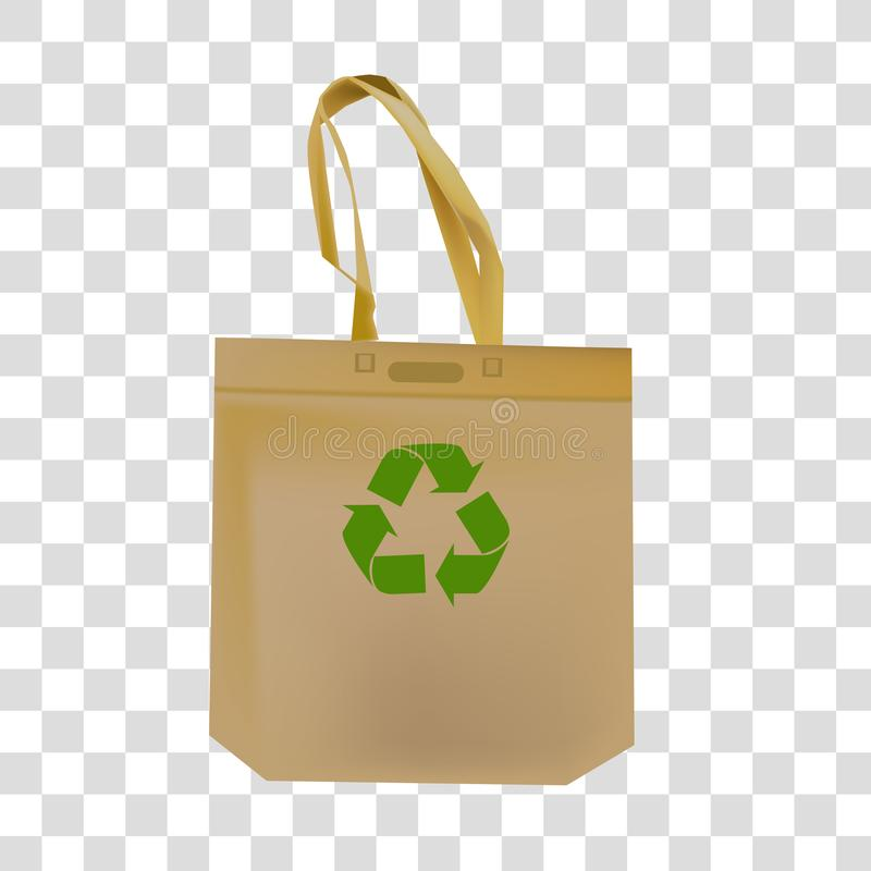 Nat?rliche Tasche mit einer Ikone f?r die Wiederverwertung des Abfall- und ?kologiekonzeptes vektor abbildung