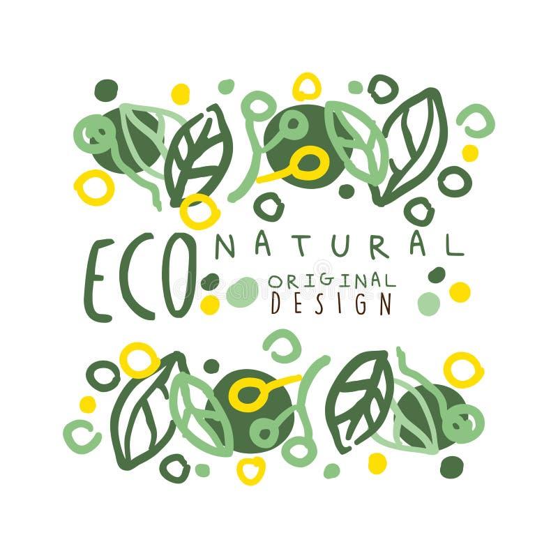 Natürlicher Aufkleber Eco, ursprüngliches Design der grafischen Schablone des Logos Gesunder Lebensstil, handgemachte Produkte, M lizenzfreie abbildung