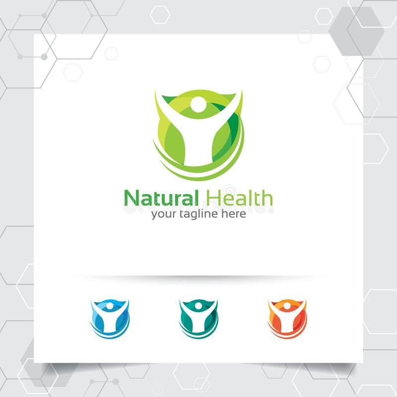 Natürlicher Gesundheitslogo-Entwurfsvektor mit Leuten und grüner Ökologiekonzeptillustration vektor abbildung