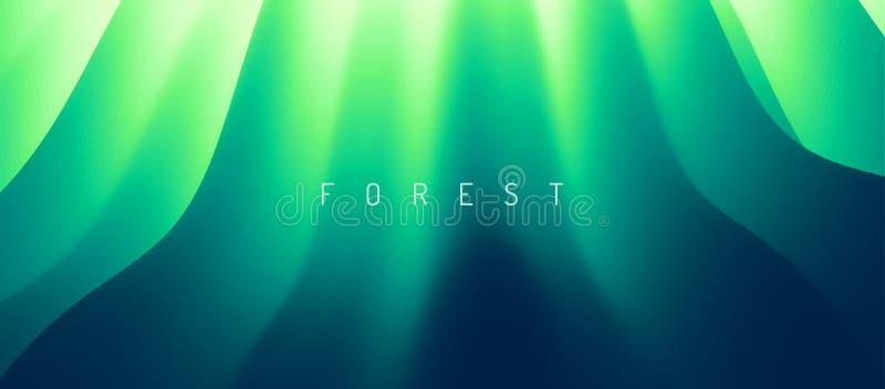 Natürlicher grüner unscharfer Hintergrund Moosiger Baumstamm in der Sommerwaldszene abstrakte Vektorillustration lizenzfreie abbildung