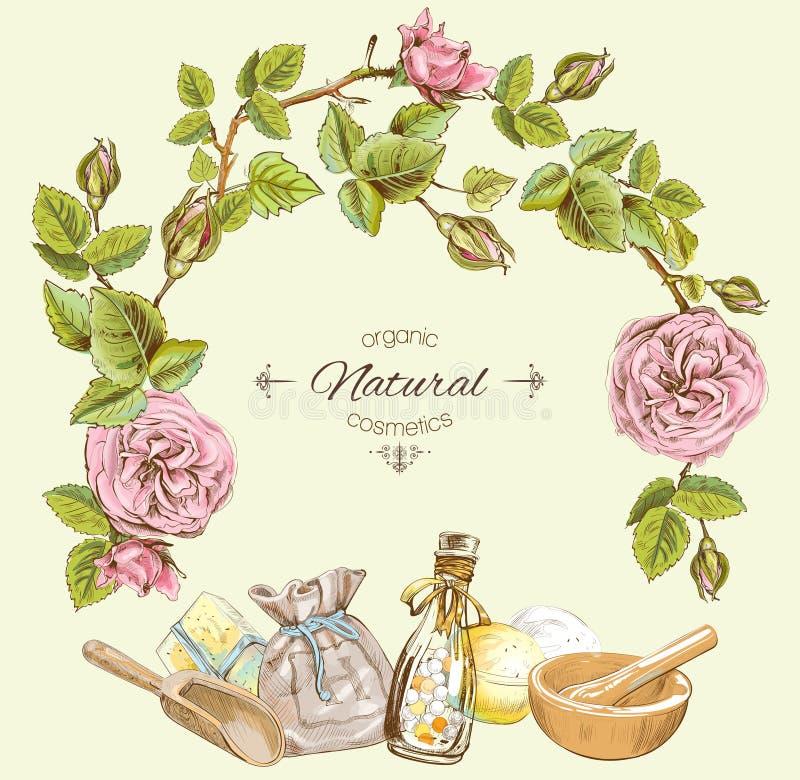 Natürlicher kosmetischer runder Rahmen Rose lizenzfreie abbildung
