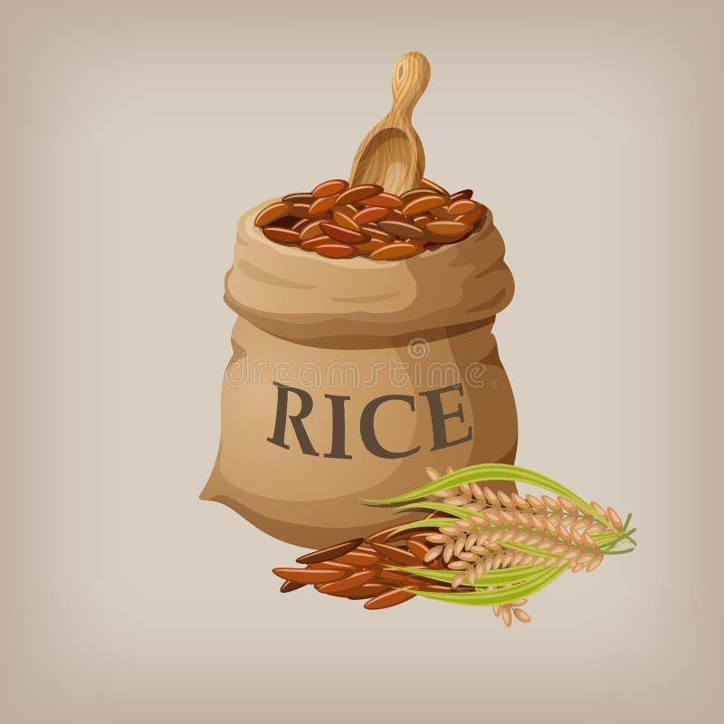 Natürlicher langer Reis Browns im kleinen Leinwandsack Auch im corel abgehobenen Betrag vektor abbildung
