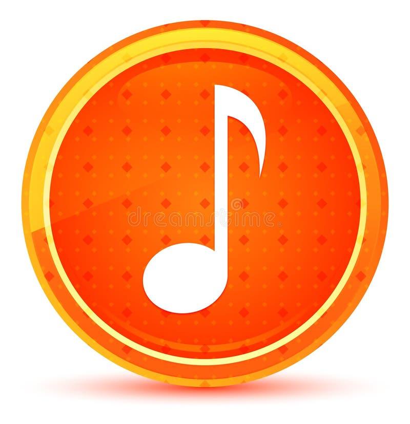 Natürlicher orange runder Knopf der Ikone der musikalischen Anmerkung lizenzfreie abbildung
