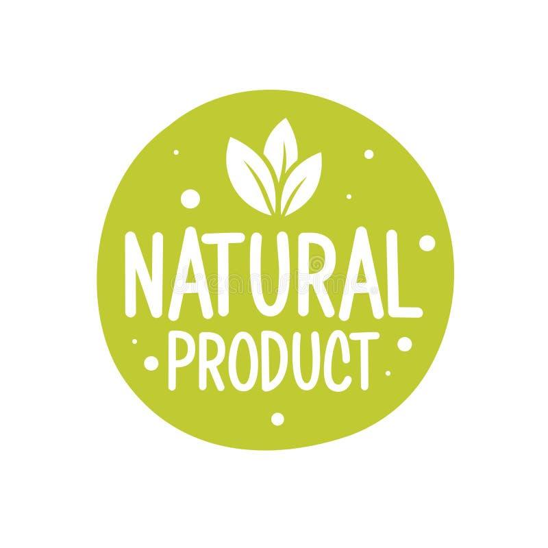 natürlicher organischer Ausweis des Stempels 100 Nahrungsmittel Eco-Naturgrünikonen-Produktaufkleber oder Logotypographie stock abbildung