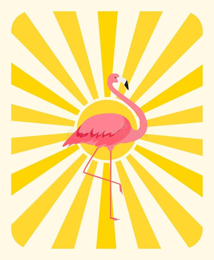 Natürlicher Sunny Background mit buntem Karikaturrosaflamingo auf einer Beinstände Illustration vektor abbildung