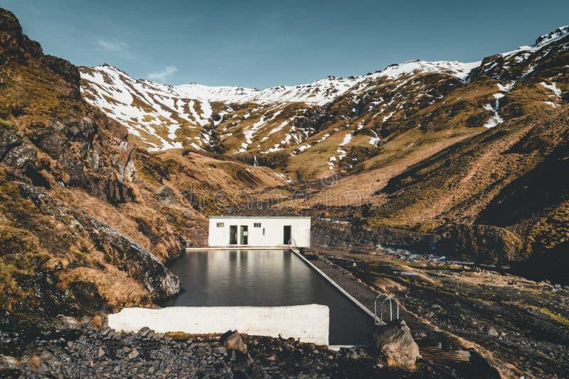 Natürlicher Swimmingpool Seljavallalaug in Island mit Mann im Wasser und Schneewetter und Berge ganz herum sonnig stockfotos