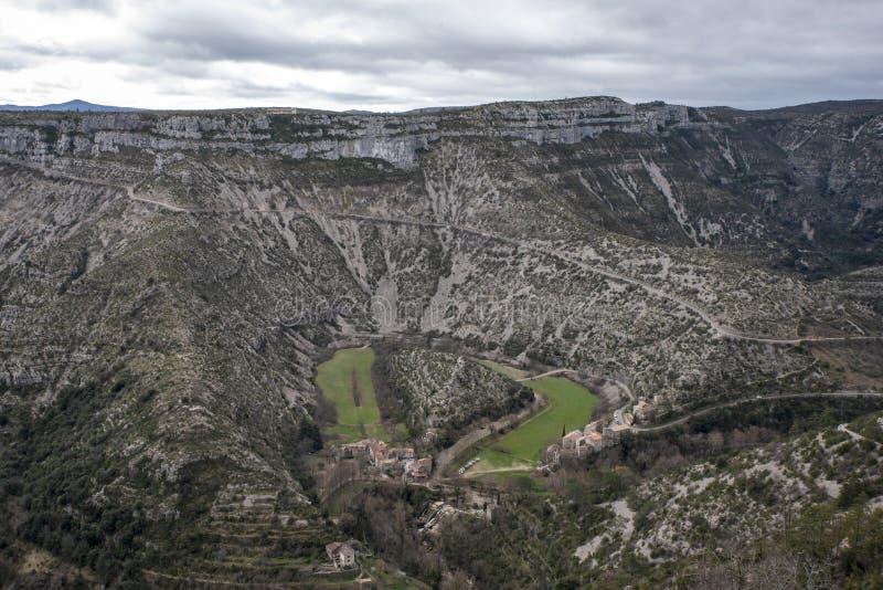 Natürlicher Zirkus Navacelles in Hérault stockfotos
