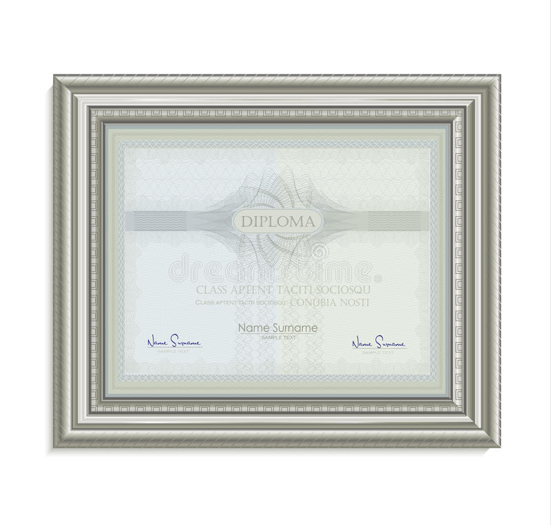Natürliches horizontales des Diplomzertifikatrahmen-Bildkarten-Papiers 3D vektor abbildung