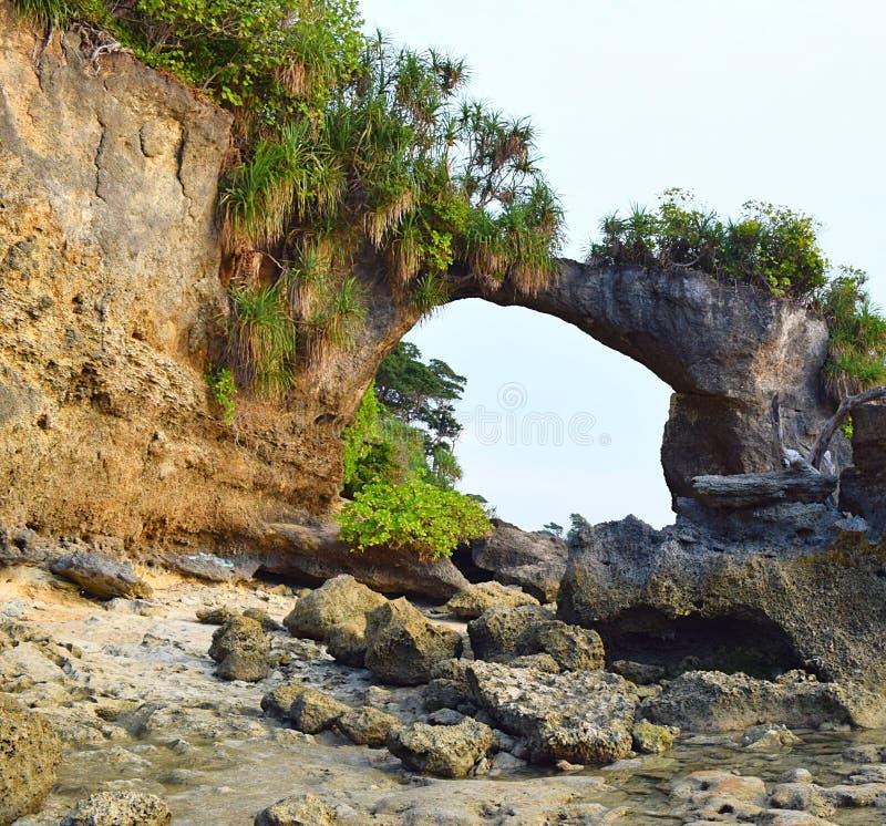 Natürliches Howrah Coral Bridge mit Hügel und dem Grün, Laxmanpur-Strand, Neil Island, Andaman, Indien stockfotos