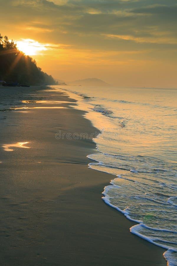 Natürliches Land scape der Sonne steigend auf Seestrand-Vertikalenform stockfotos