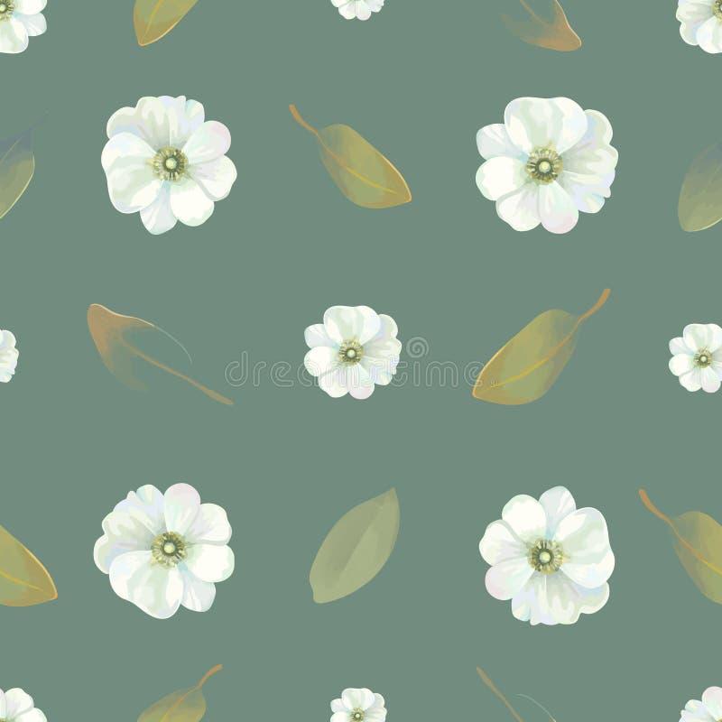 Natürliches nahtloses Muster mit empfindlichen Blumen und frischen Blättern gegen dunkelgrünen Hintergrund Schöne Beschaffenheit  stock abbildung