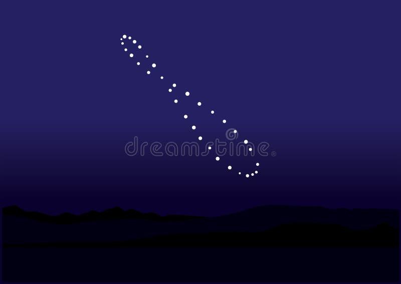 Natürliches Phänomen Analema im Himmel auf blauem Nachthintergrundentwurf lizenzfreie abbildung