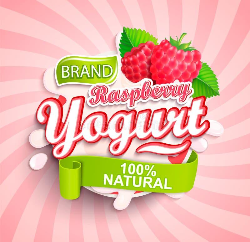 Nat?rliches und frisches Himbeerenjoghurt-Logospritzen stock abbildung