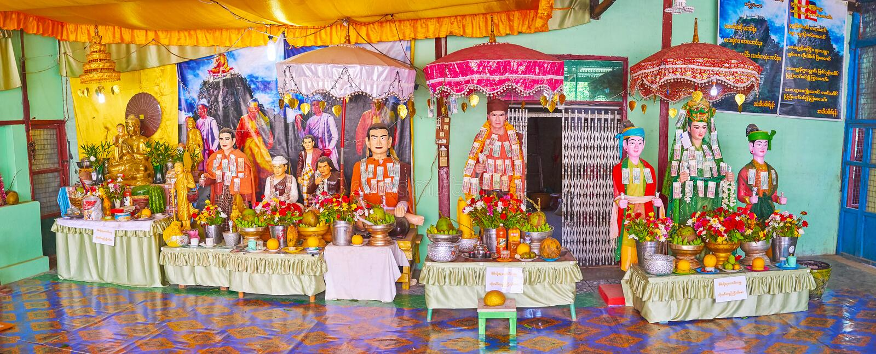 nat寺庙的内部,登上波帕岛,缅甸 免版税库存照片