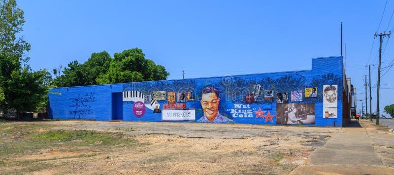 Nat король Коул Посвящение Настенная роспись или фасад стоковые изображения
