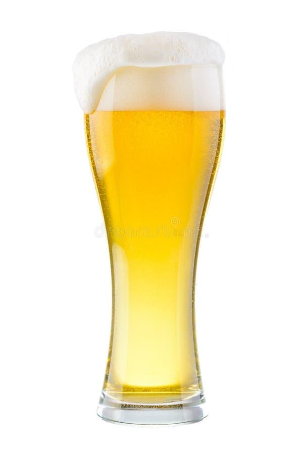 Nat glas vers koud licht die bier met schuim op witte B wordt geïsoleerd royalty-vrije stock foto