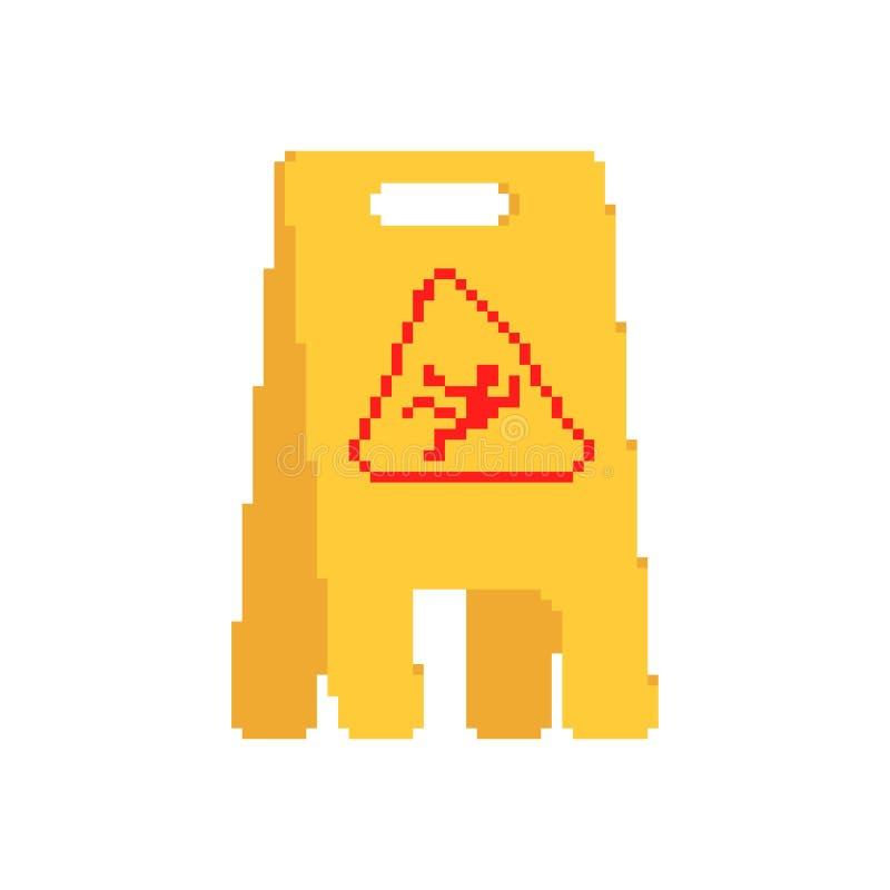 Nat het pixelart. van het vloer geel teken voorzichtigheids glad ongeval met 8 bits vector illustratie