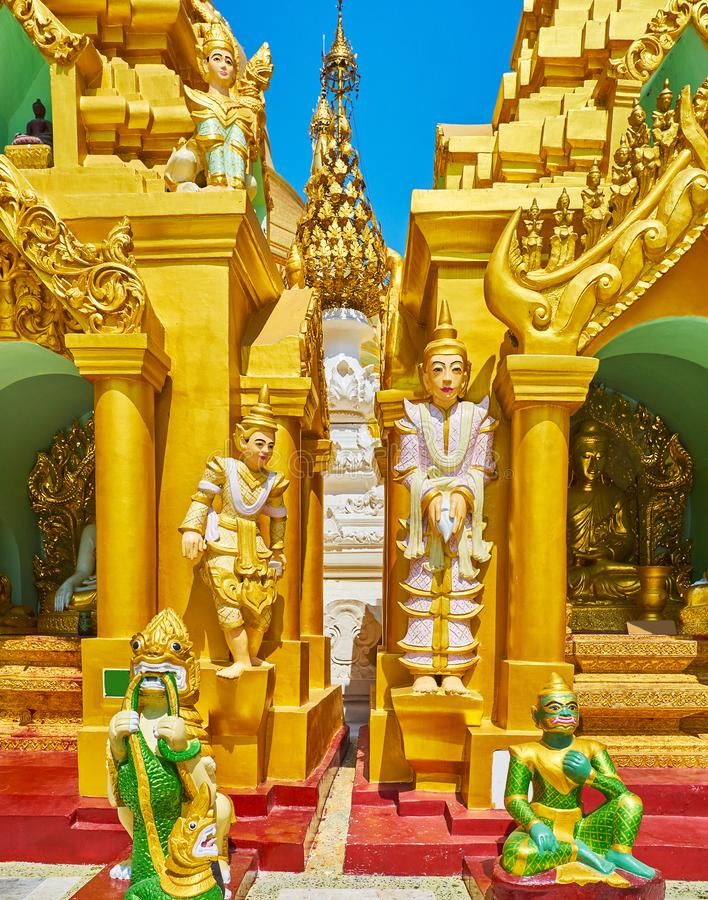 Nat Spirits statues in Shwedagon, Yangon, Myanmar. The Nat Spirits and different mythic creatures, like leogryphs chinthe, serpents nagar, belu and manote thiha stock images