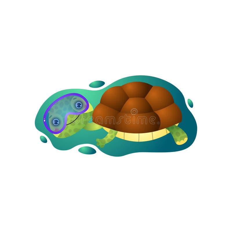 Natação bonito da tartaruga do kawai sob a água na máscara de mergulho isolada no fundo branco ilustração stock