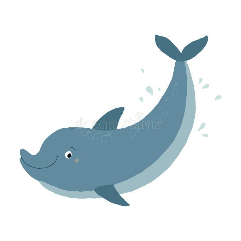 Nata??o bonito do golfinho do Bottlenose azul A ilustra??o tirada m?o do eps 10 do vetor dos desenhos animados isolou-se no fundo ilustração do vetor