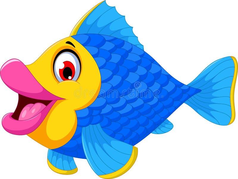 Natação bonito dos desenhos animados dos peixes ilustração royalty free