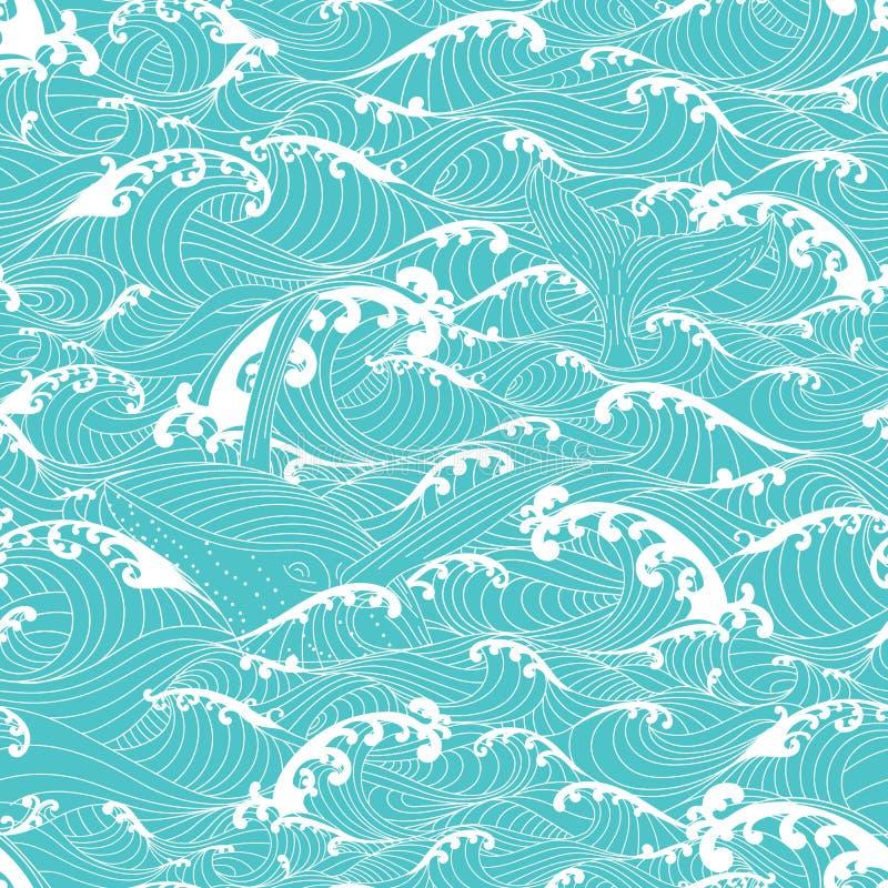 A natação da baleia nas ondas de oceano, modela o fundo sem emenda ilustração do vetor