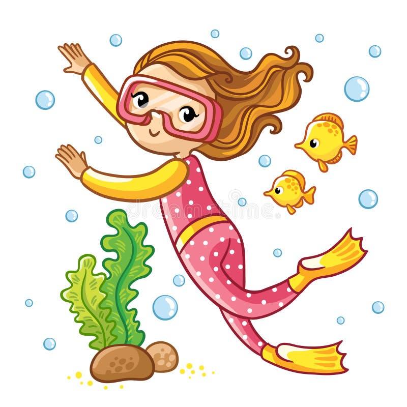 Natação da menina sob a água com peixes ilustração stock