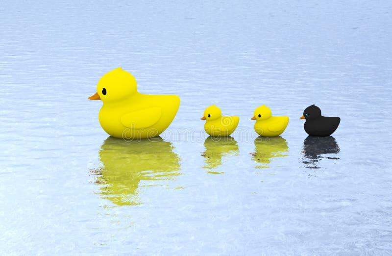 Natação de borracha da família do pato na água fotografia de stock royalty free