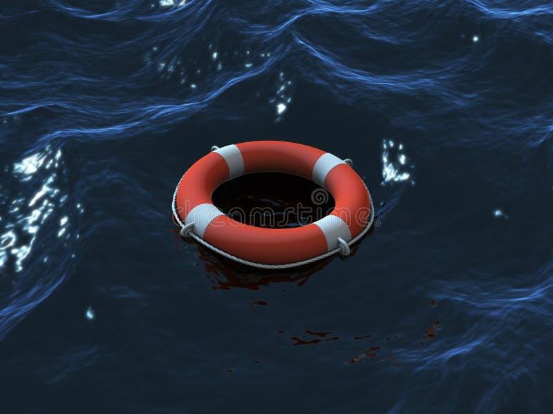 Natação de Lifebuoy nas ondas ilustração stock