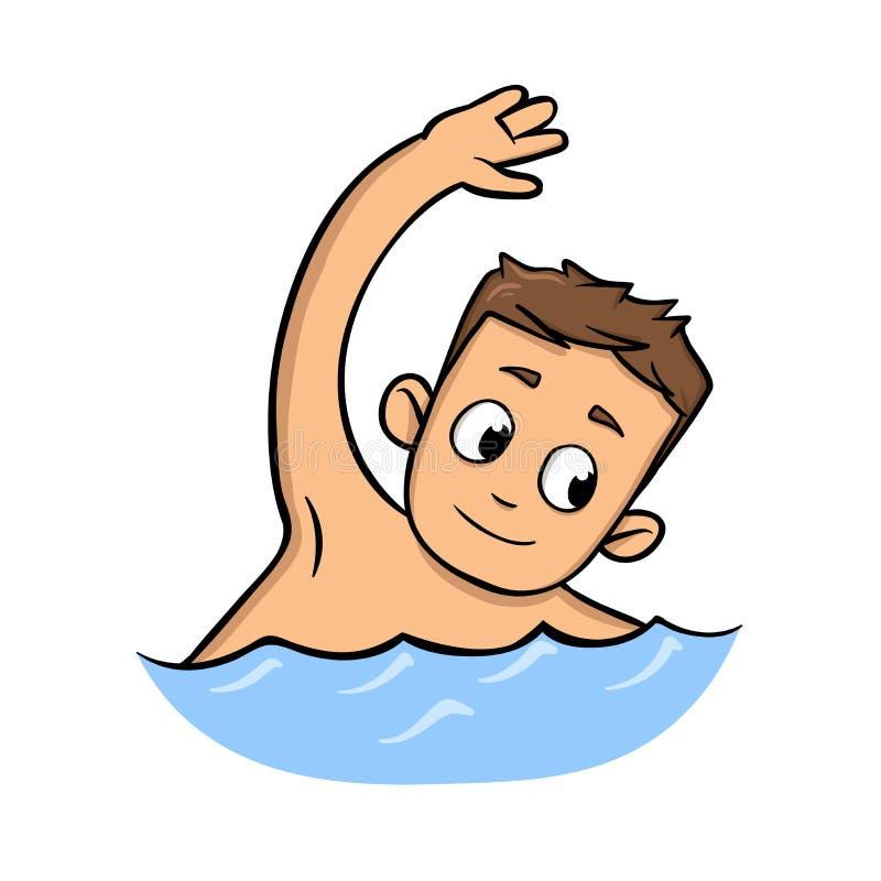Natação de sorriso da criança Ícone liso do projeto dos desenhos animados Ilustração lisa do vetor Isolado no fundo branco ilustração do vetor