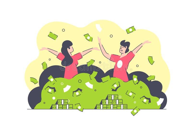 Natação de sorriso isolada plano do homem e da mulher no dinheiro verde ilustração royalty free
