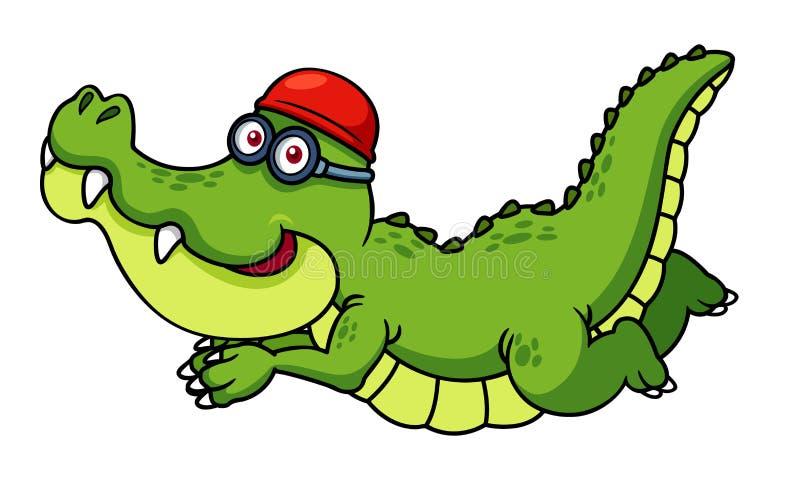 Natação do crocodilo dos desenhos animados ilustração stock