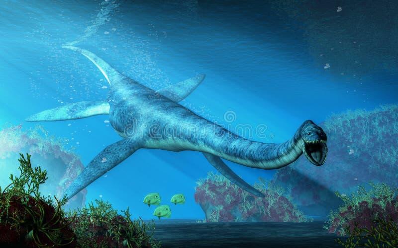 Natação do Elasmosaurus para você ilustração royalty free