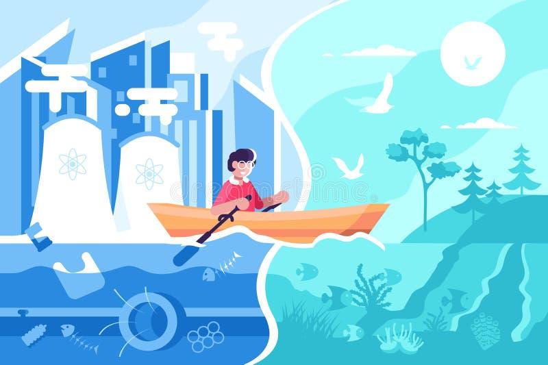 Natação do homem no barco da cidade à natureza ilustração stock