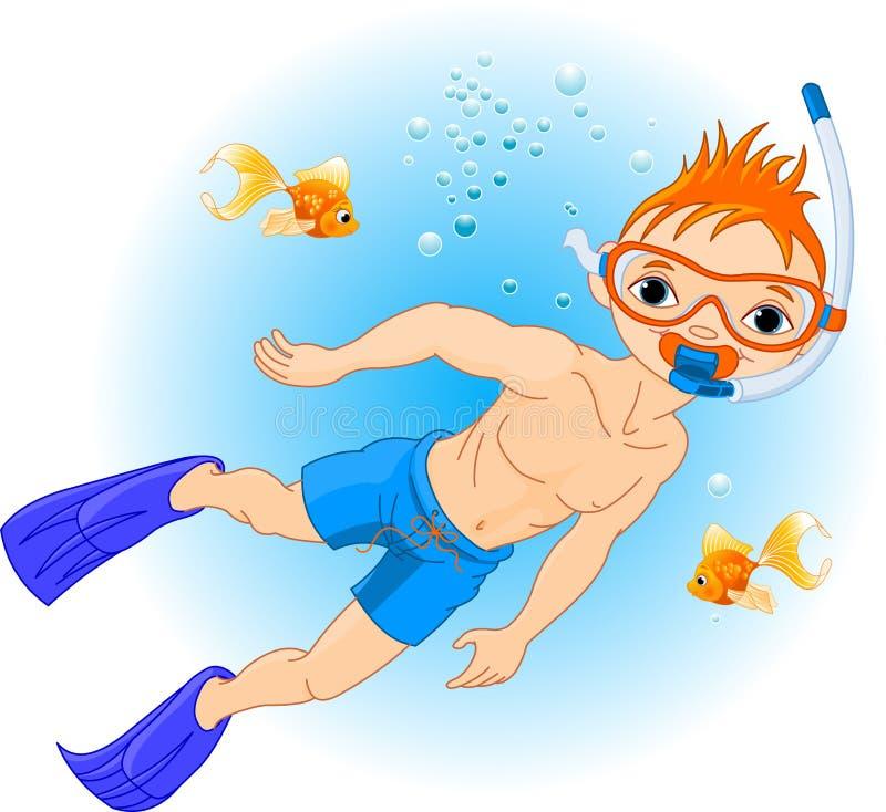 Natação do menino sob a água ilustração do vetor