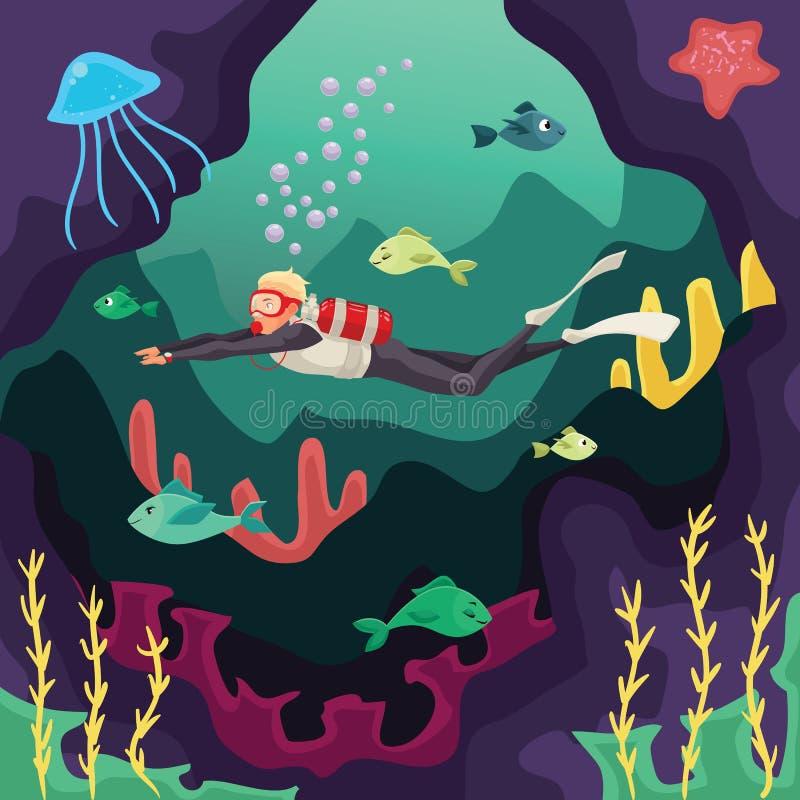 Natação do mergulhador de mergulhador sob a água ilustração stock