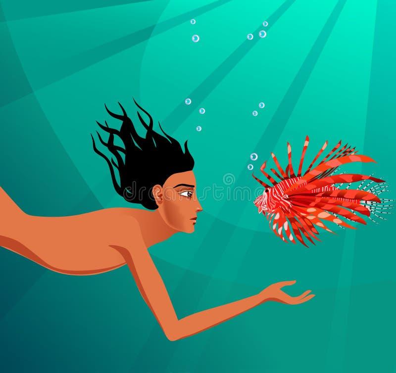 Natação do mergulhador e dos peixes