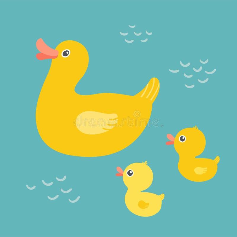Natação do pato da mãe dos desenhos animados na lagoa com patinhos Natação de borracha da família do pato no banho Conceito do di ilustração stock