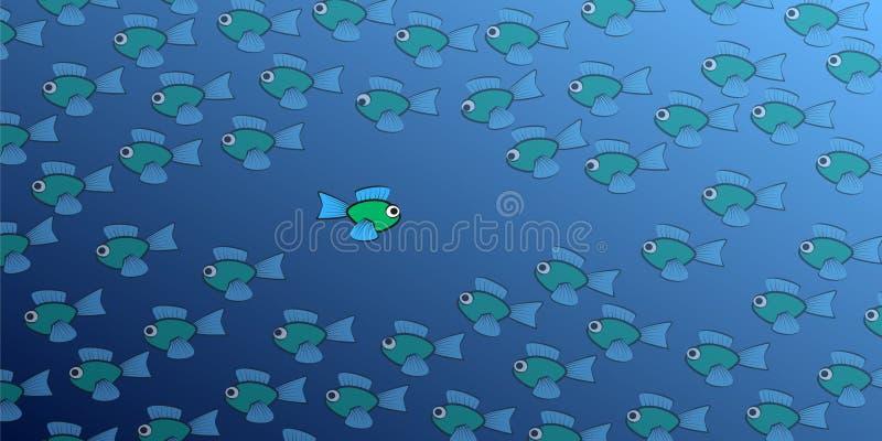 Natação dos peixes contra a maré cômica ilustração do vetor