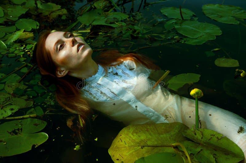 Natação macia da jovem mulher na lagoa entre lírios de água fotografia de stock