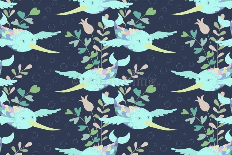 A natação pesca com asas, como o voo do fantast subaquático dos pássaros ilustração do vetor