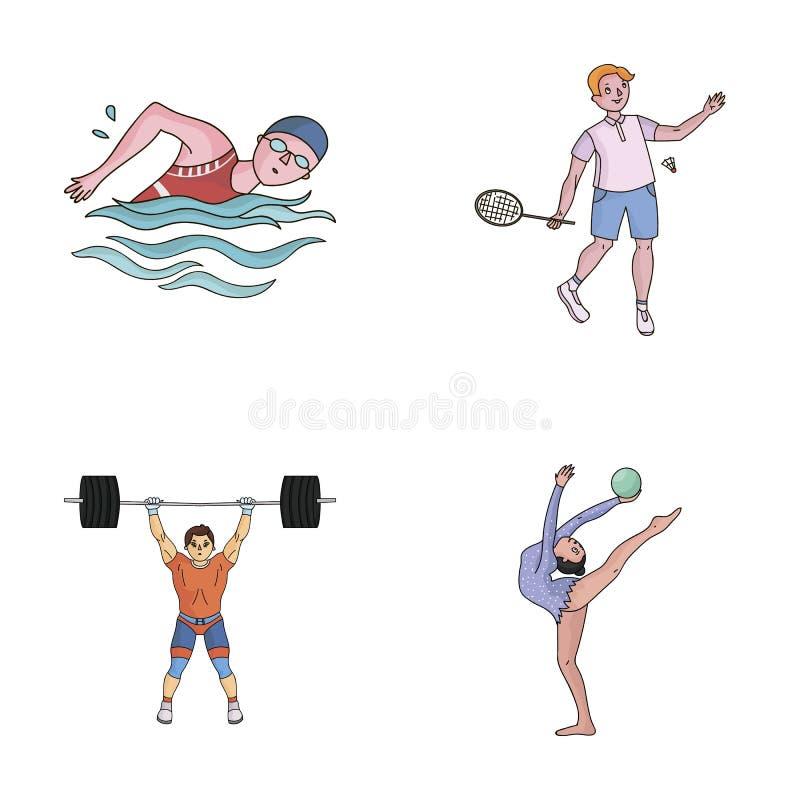 Natación, bádminton, levantamiento de pesas, gimnasia artística Iconos determinados de la colección del deporte olímpico en vecto ilustración del vector