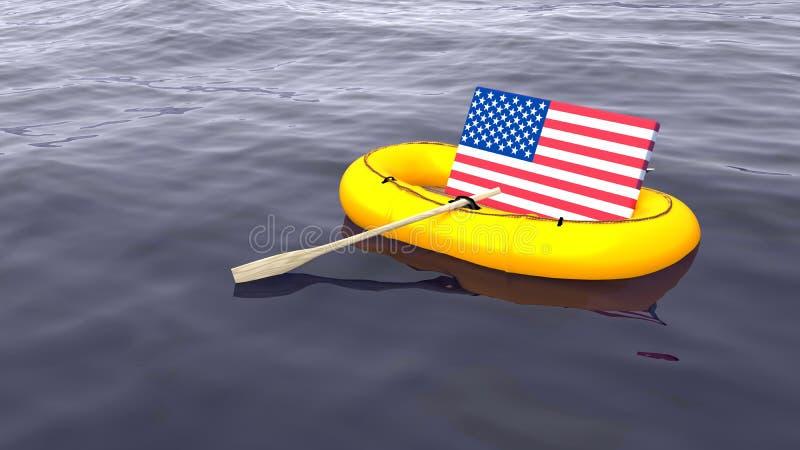 Natación de la bandera americana en un barco de goma amarillo solamente ilustración del vector