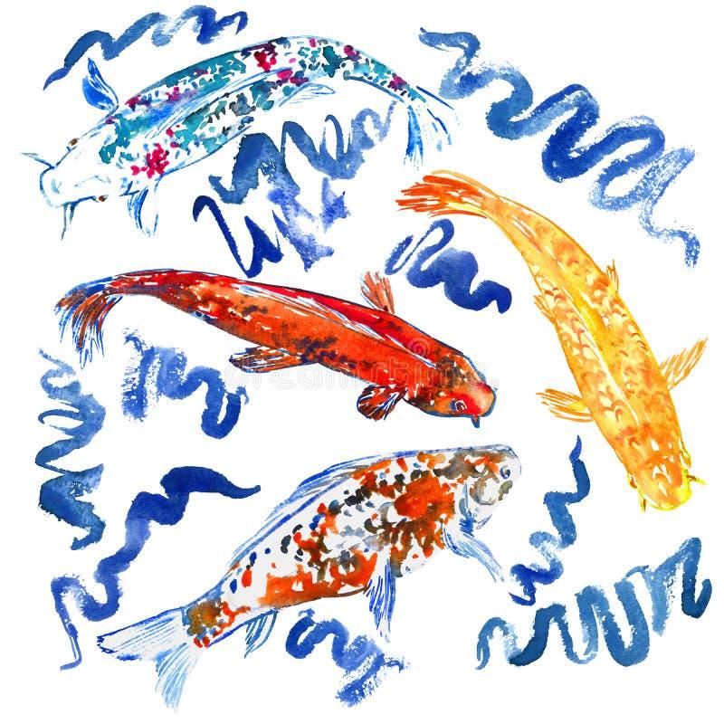 Natación de la colección de la carpa de Koi en la charca con las ondas azules ilustración del vector
