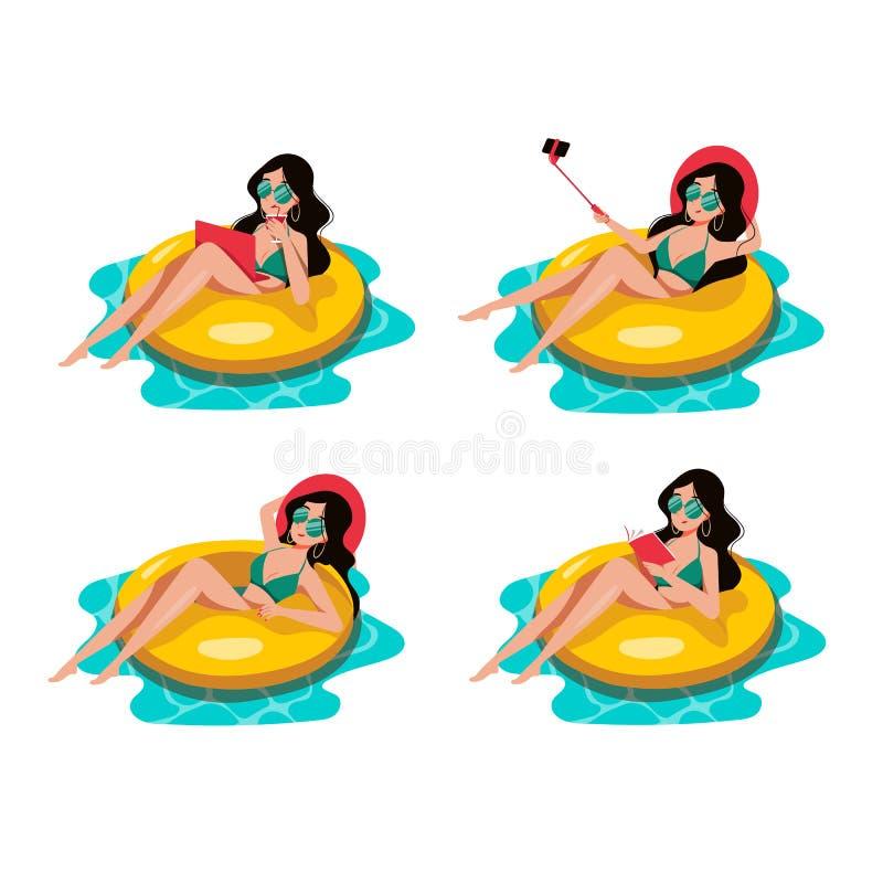 Natación de la mujer en el anillo inflable amarillo en piscina Ilustraci?n de la historieta del vector Elementos del diseño de la libre illustration