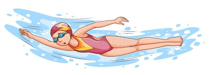 Natación de la mujer en la piscina ilustración del vector