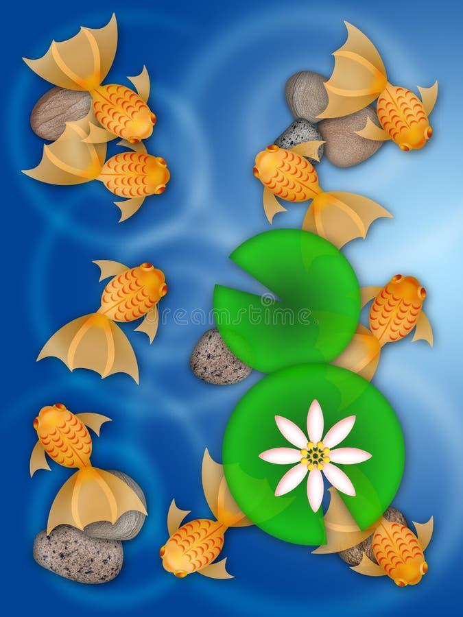 Natación de lujo del Goldfish en la ilustración de la charca stock de ilustración