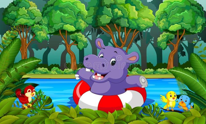 natación del hipopótamo en el río libre illustration